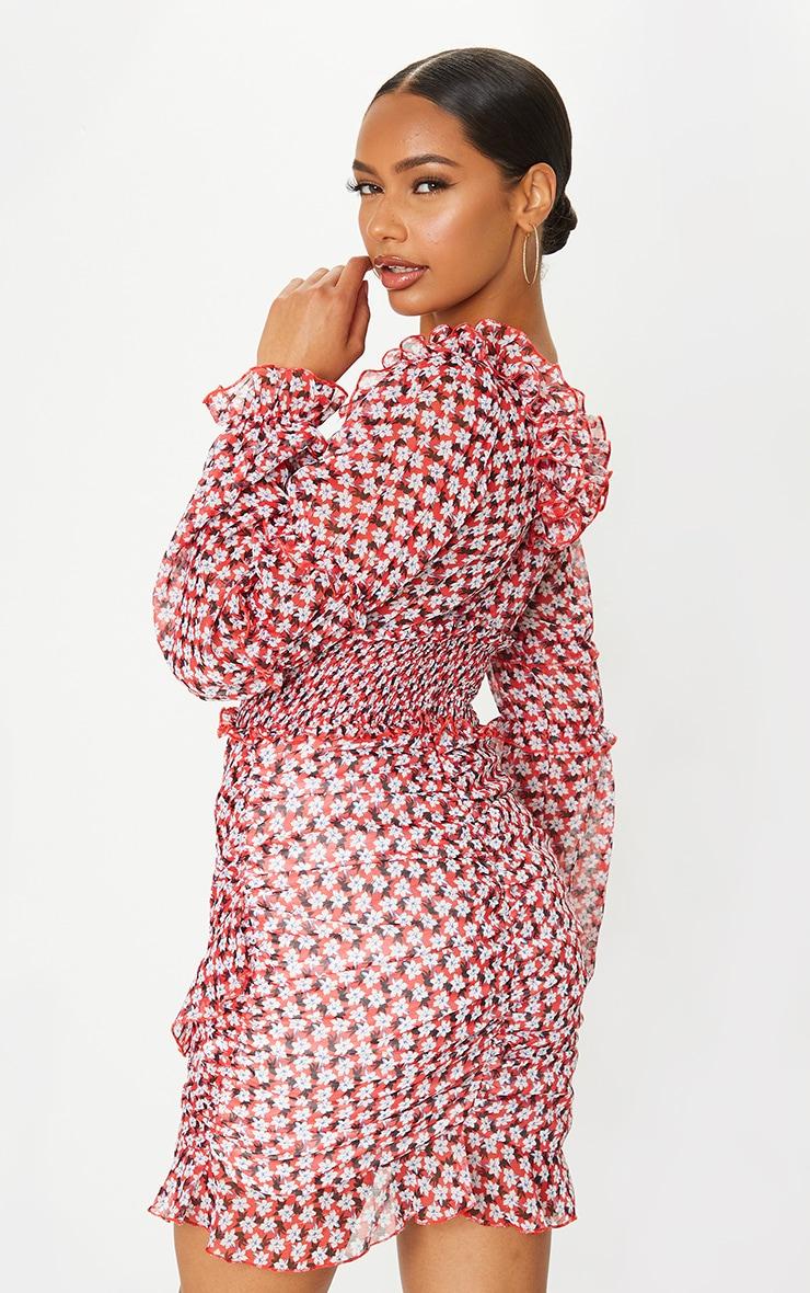 Red Floral Print Frill Detail Shirred Waist Tea Dress 2