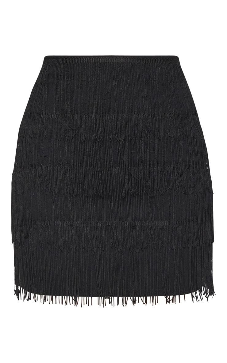 Black Tiered Fringe Mini Skirt 3