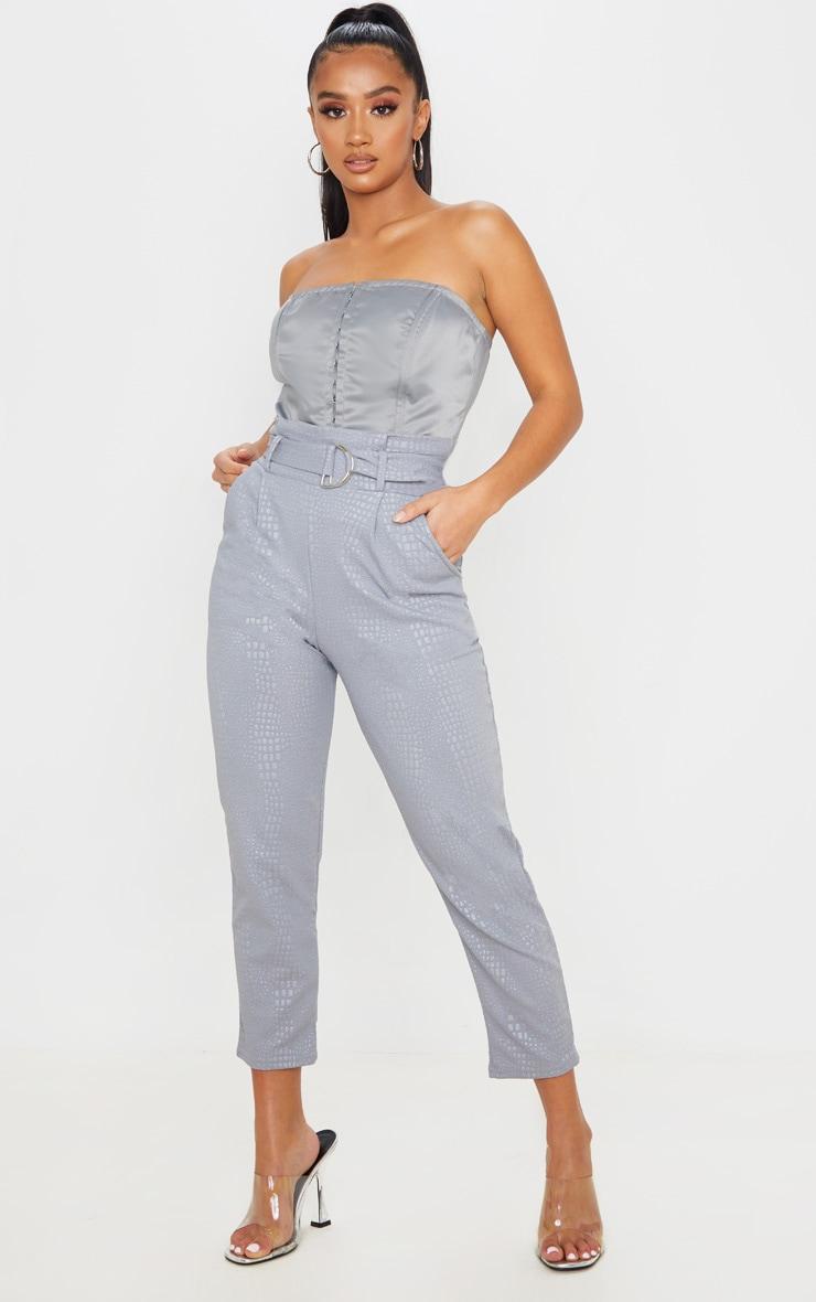 Petite Grey Croc Print D Ring Belted Skinny Pants 1