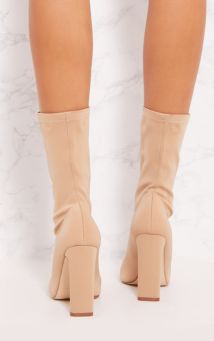 Sand Lycra Heeled Sock Boot 5