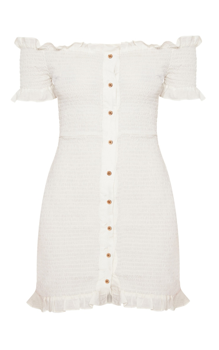 White Shirring Button Detail Bardot Bodycon Dress 4
