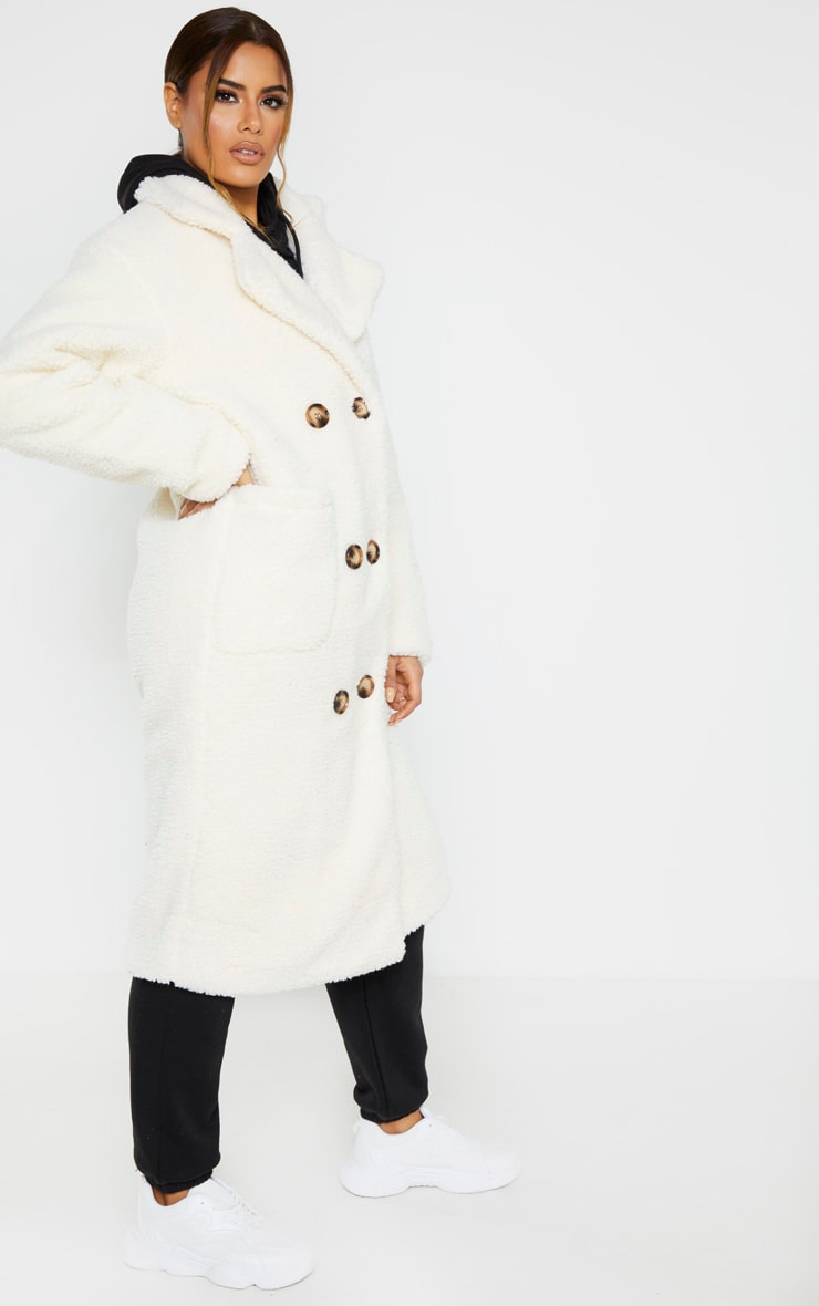Tall Cream Borg Midi Coat 4