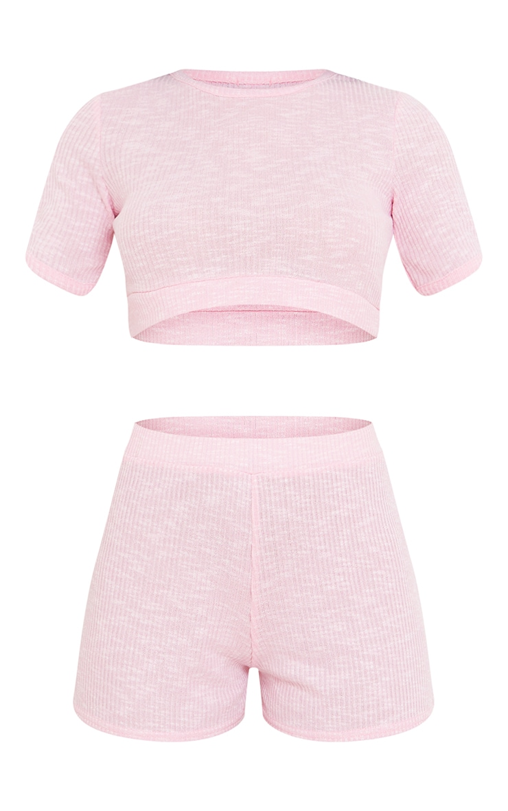 Baby Pink Soft Ribbed Cropped T-Shirt And Shorts PJ Set 5