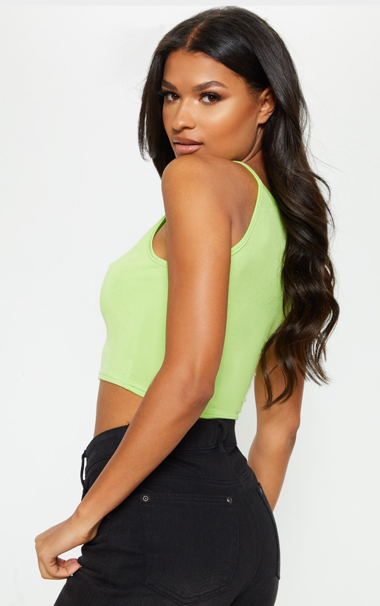 Basic Lime Jersey Racer Neck Crop Top 2