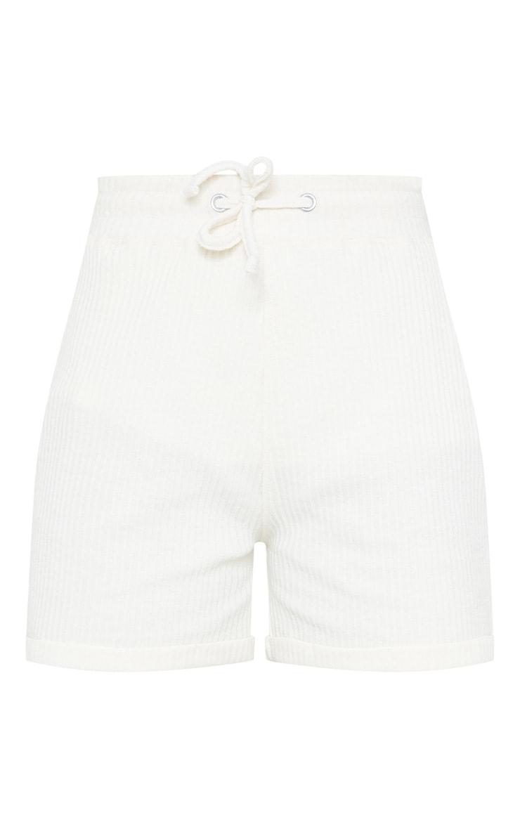 Cream Structured Rib Drawstring Waist Shorts 5