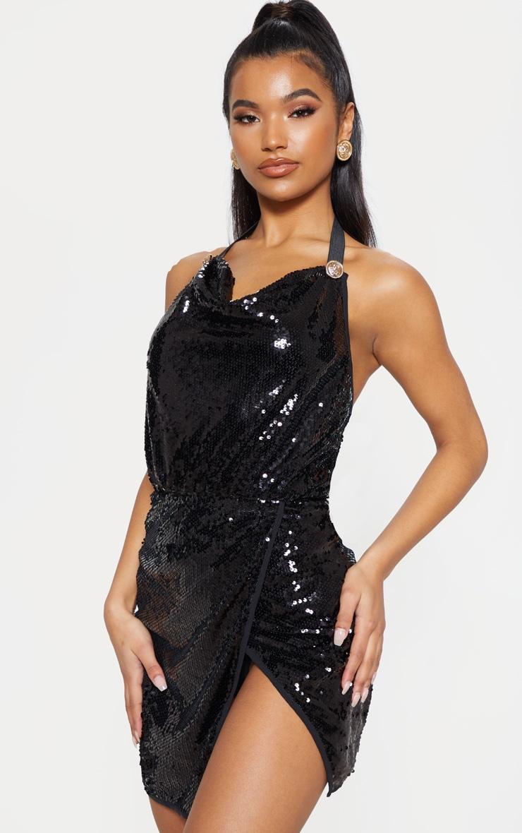 Black Sequin Cowl Neck Bodycon Dress  4