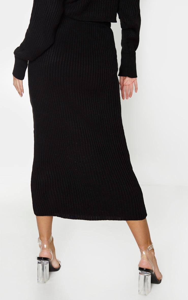 Tall Black Knitted Midi Skirt 4