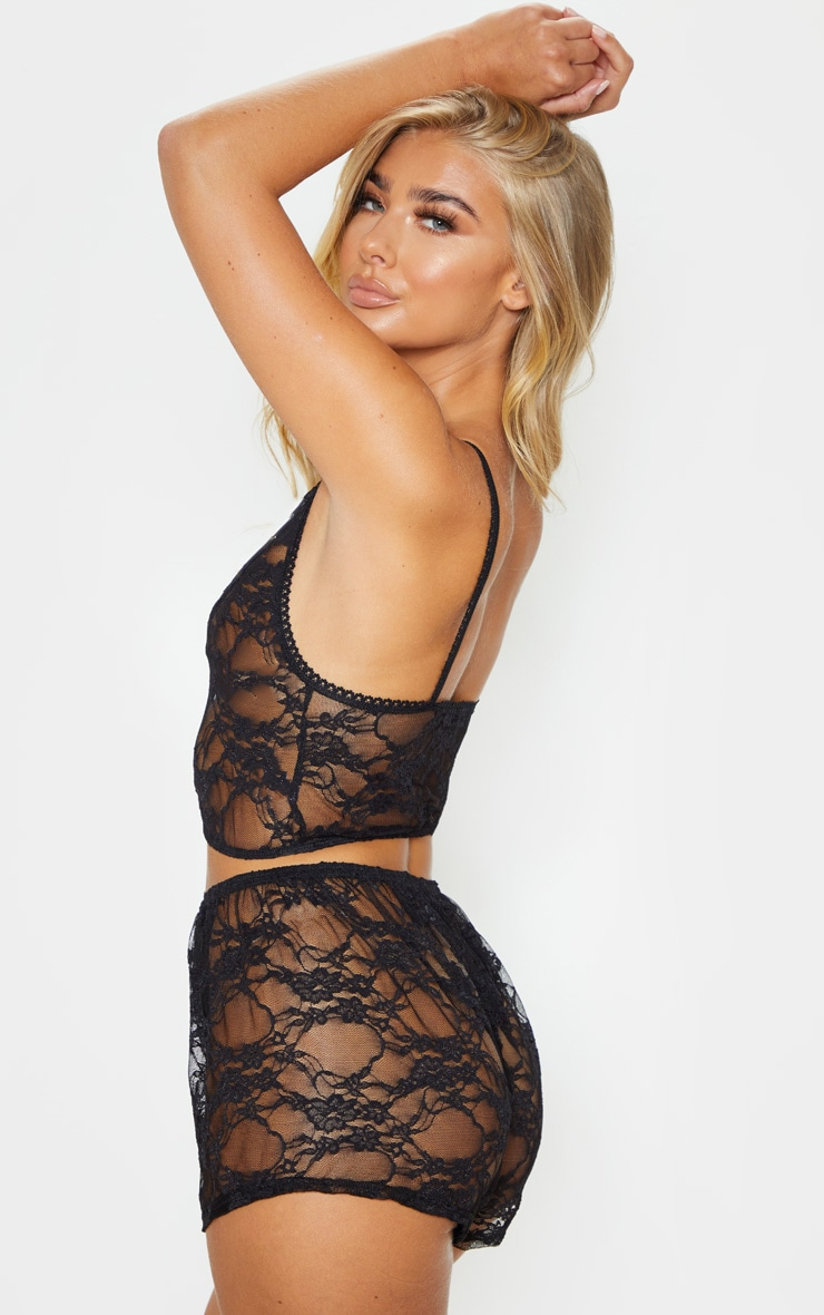 Luma Black All Over Lace Crop Top & Short Set 2