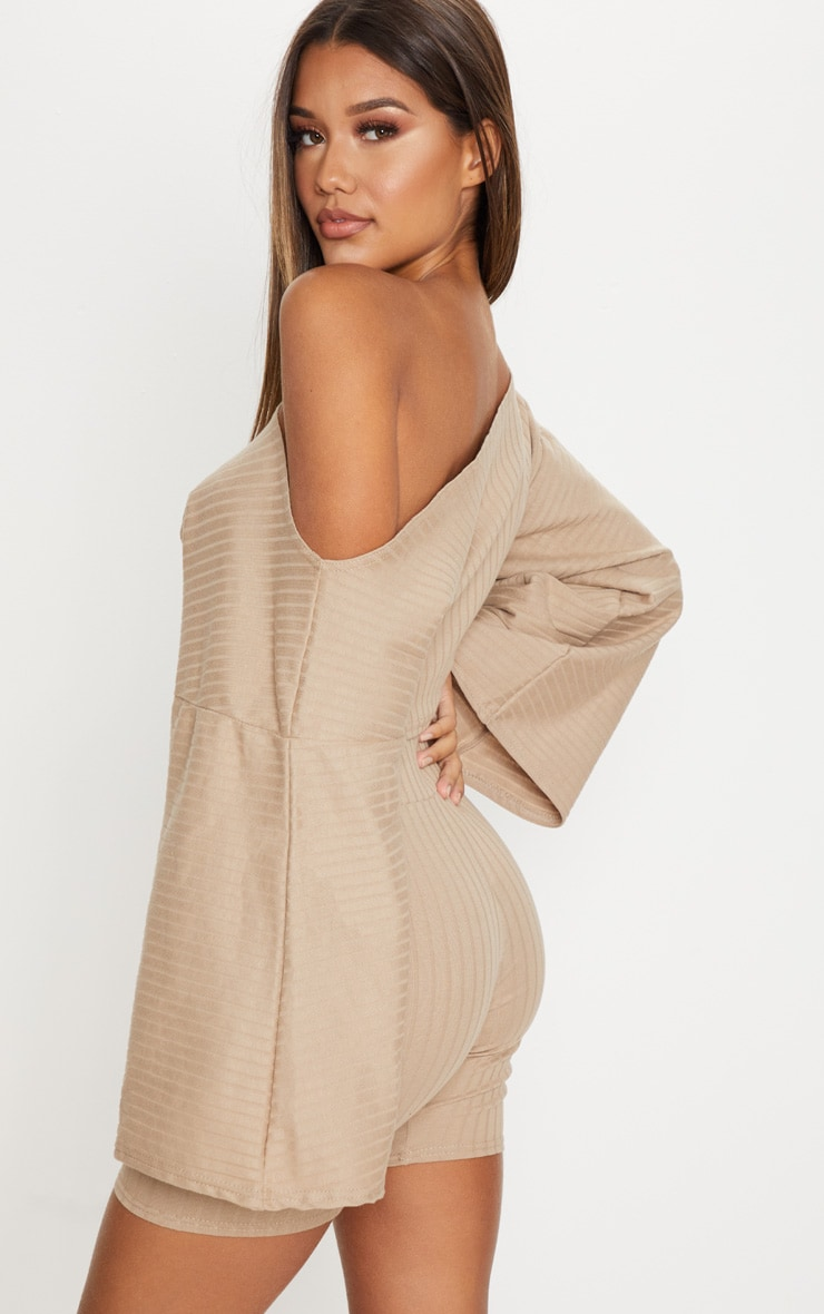Taupe Rib Off The Shoulder Crop Top 2