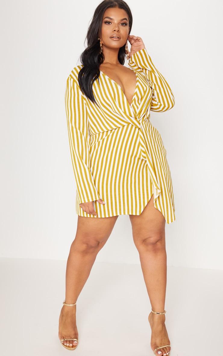 Plus Chartreuse Striped Woven Long Sleeve Wrap Dress 4