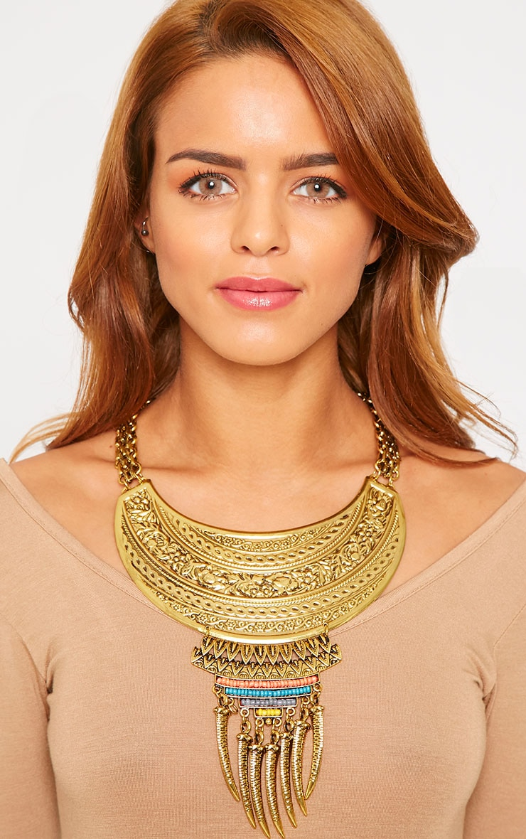Rihanna Gold Metal Plate Beaded Necklace 1