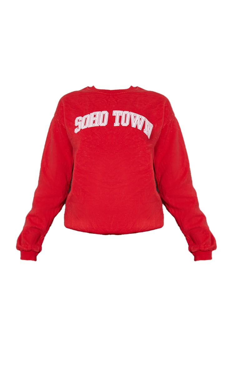 Red Washed Soho Town Printed Sweater 5