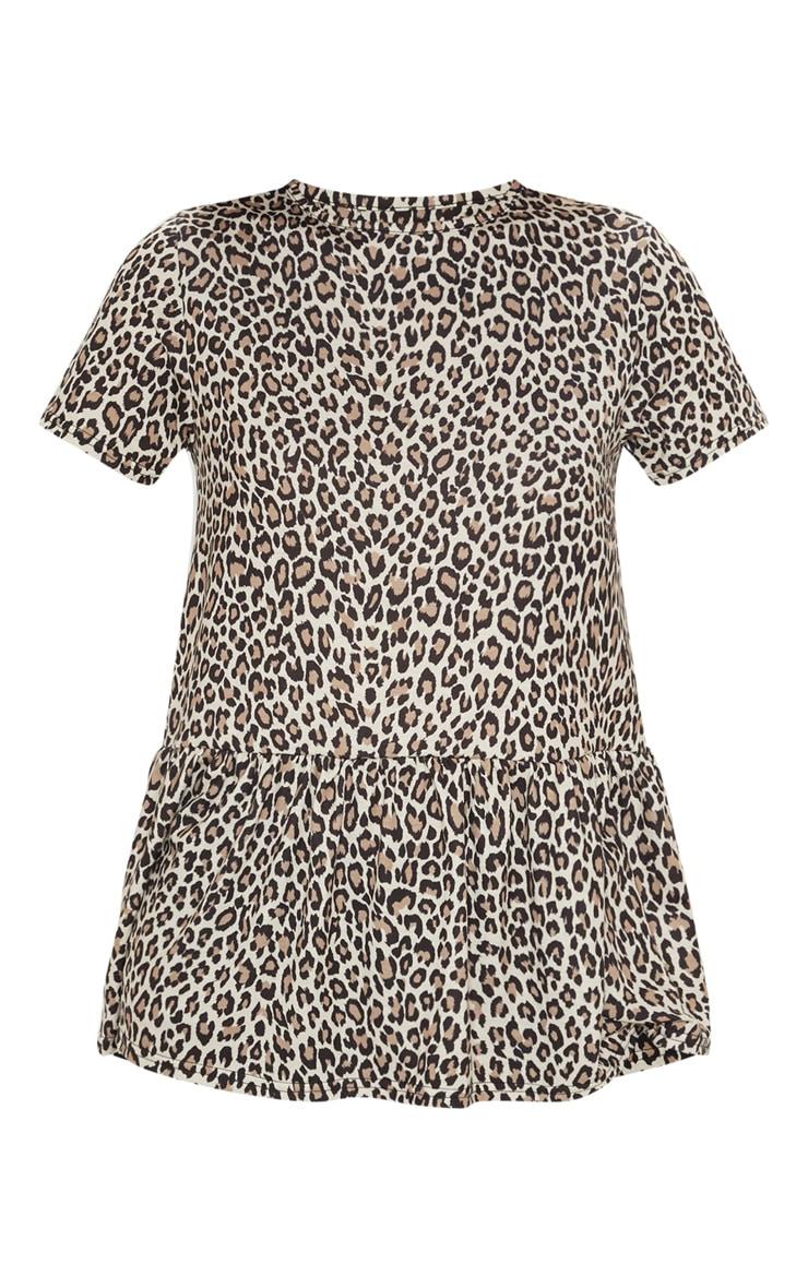 Tan Leopard Print Frill Peplum Top 3