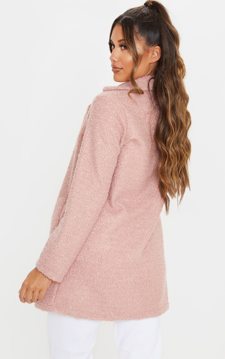 Dusty Pink Textured Oversized Coat 2