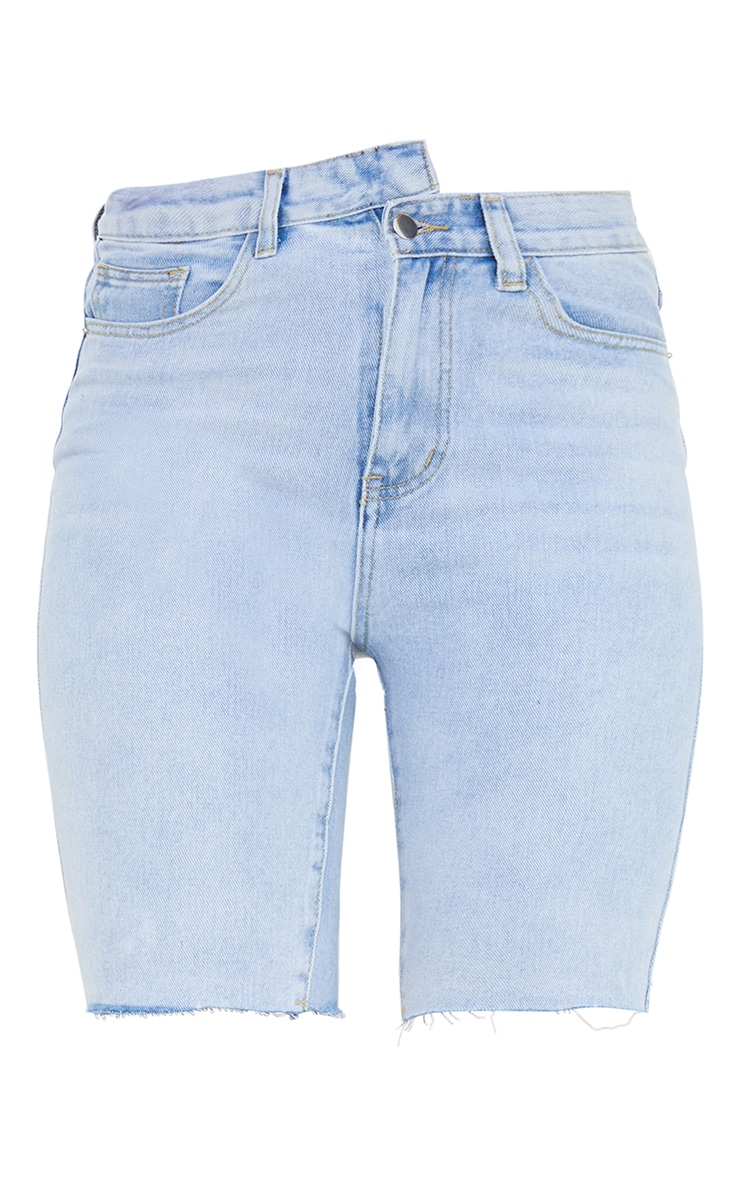 Light Blue Wash Asymmetric Waist Longline Denim Shorts 6