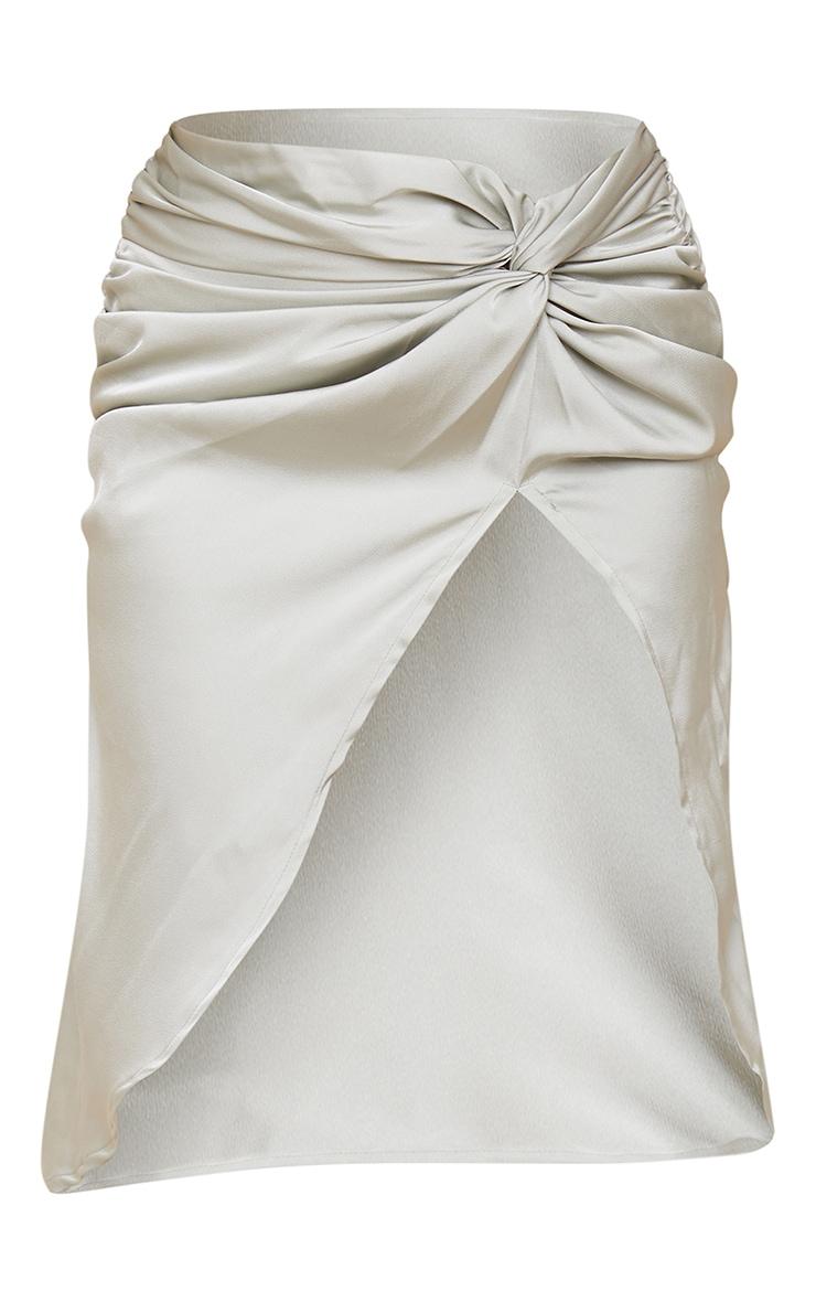 Sage Green Satin Knot Side Midi Skirt 5