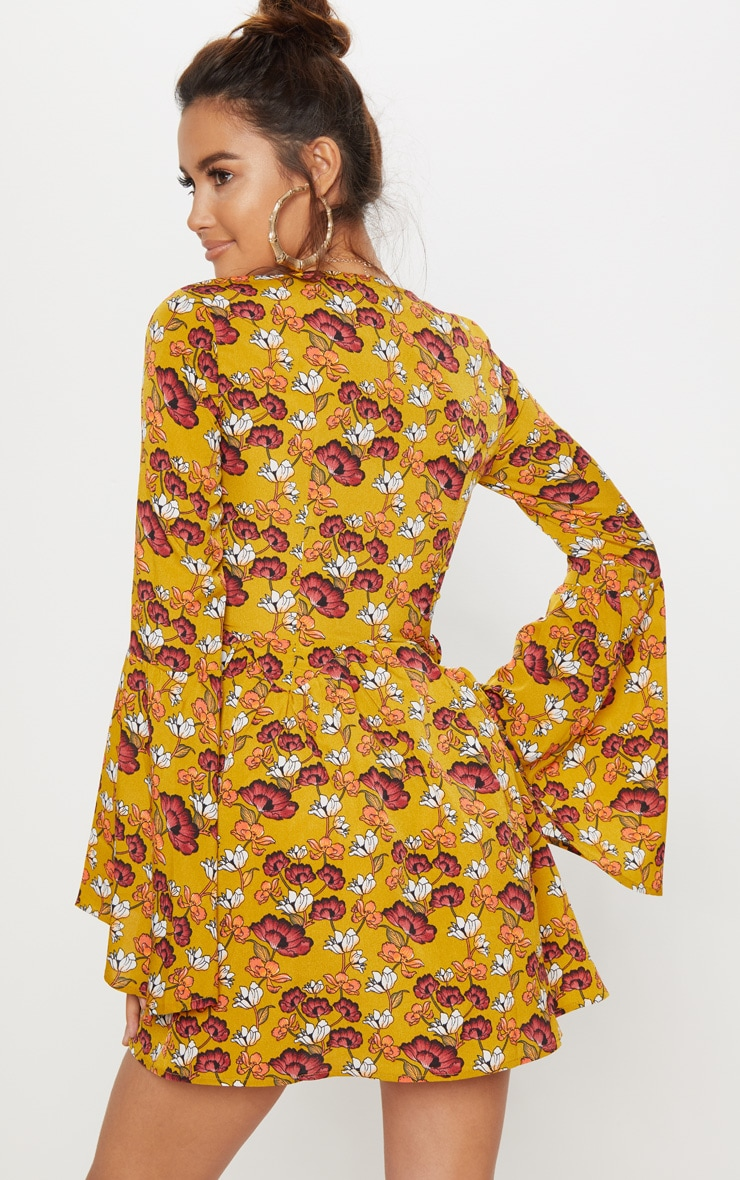 Mustard Floral Fluted Sleeve Strappy Detail Skater Dress 2