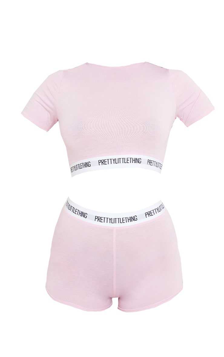 PRETTYLITTLETHING Tape Pink Shorts PJ Set 5