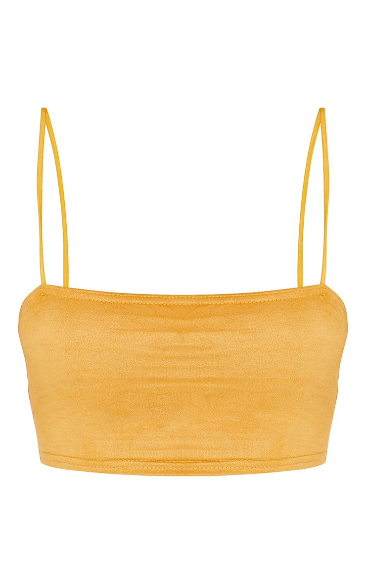 Shape Mustard Faux Suede Strappy Straight Neck Crop Top 3