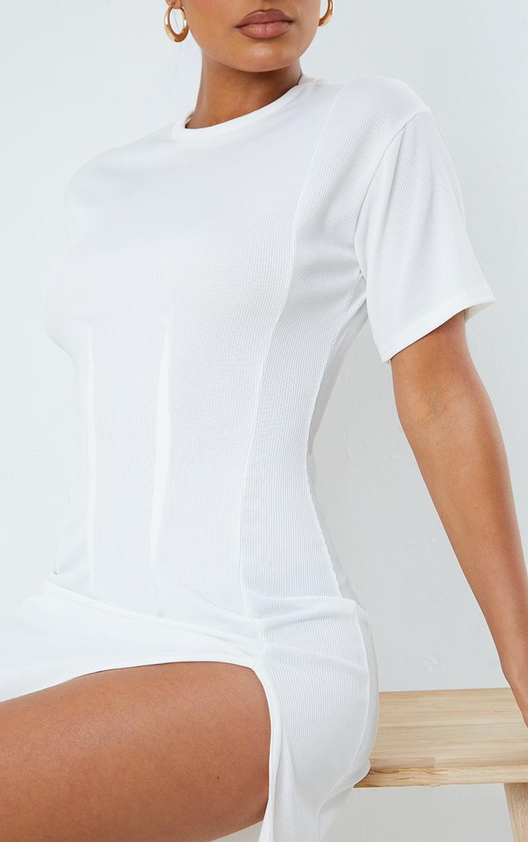 White Rib Pleated Waist Detail Split Hem Midi Dress 4