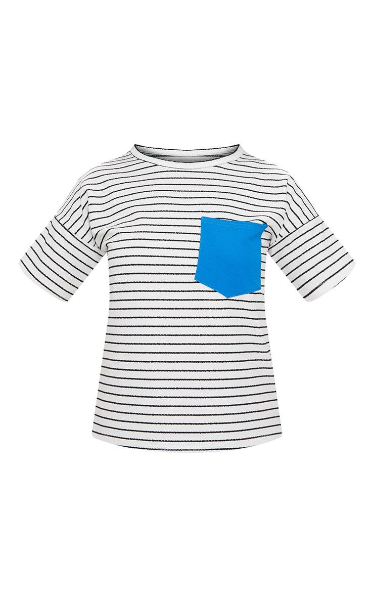 White Pocket Contrast Stripe T Shirt 3
