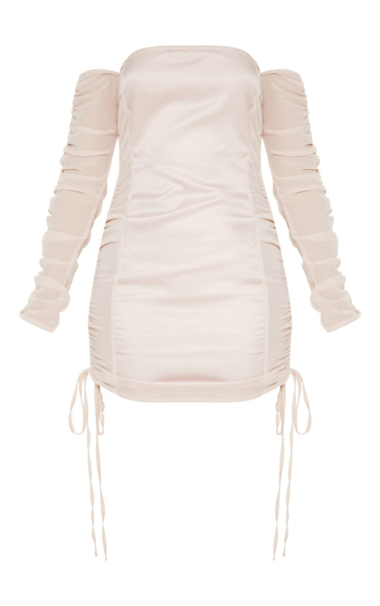 Nude Bardot Ruched Mesh Insert Bodycon Dress  3