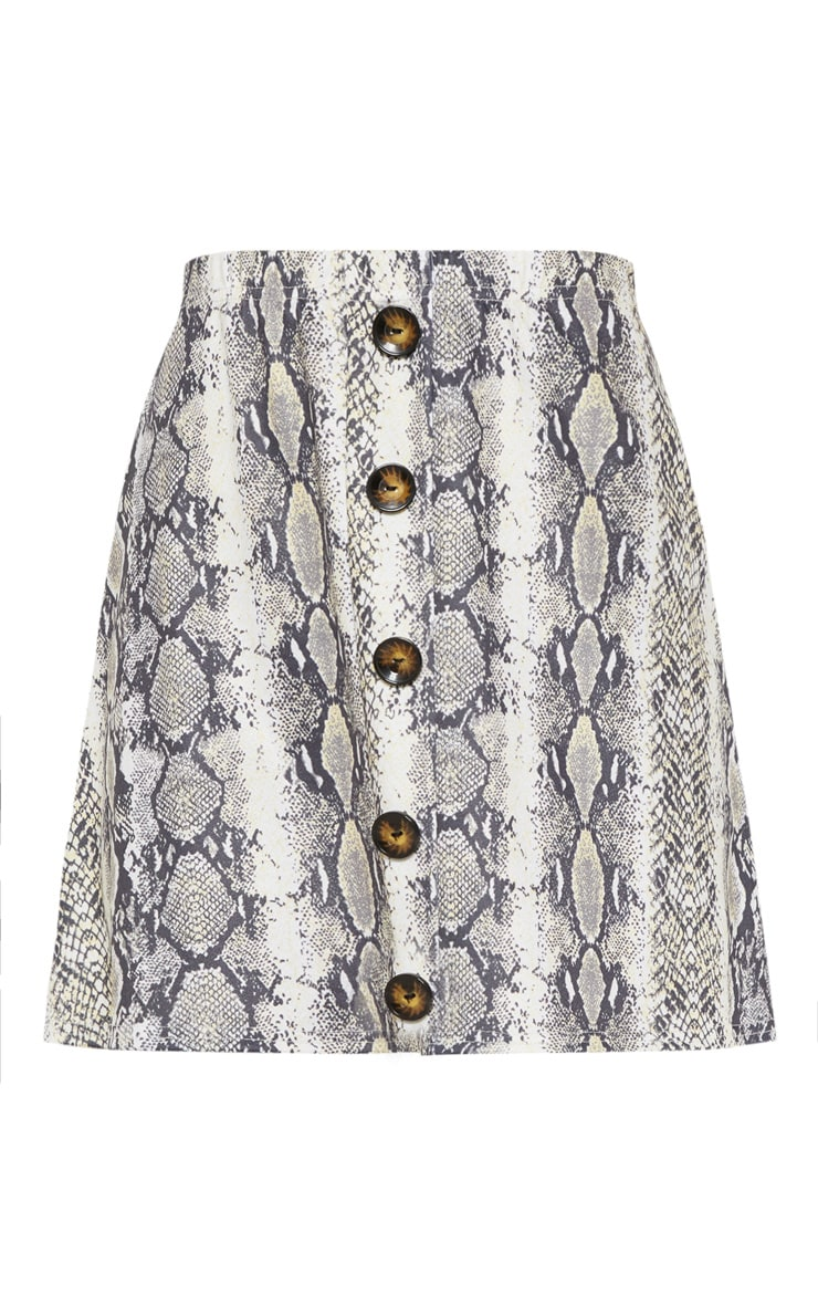 Snakeskin Printed Button Front A Line Skirt 3