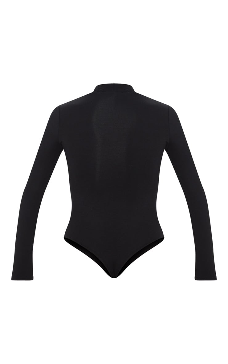 Black High Neck Stripe Long Sleeve Bodysuit 4
