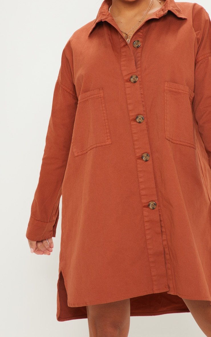 Petite Rust Tortoise Button Oversized Denim Shirt Dress 5