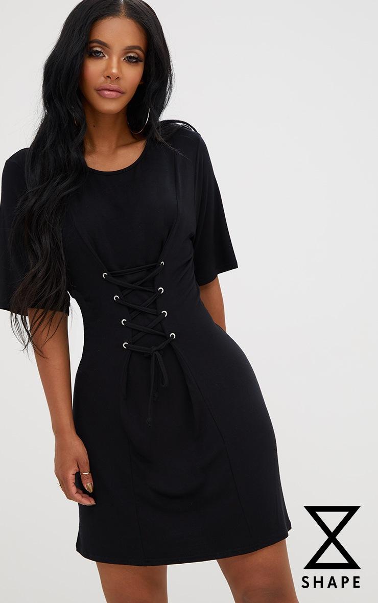Shape Black Lace Up Front T-Shirt Dress 1