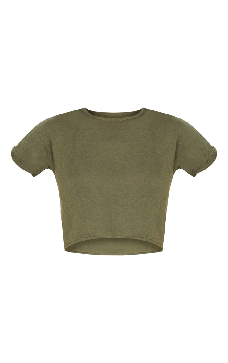 Basic Khaki Roll Sleeve Crop T Shirt 5