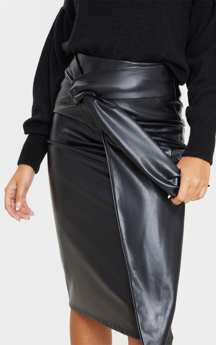 Black Faux Leather Drape Front Midi Skirt  5