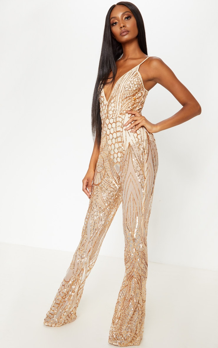 Gold Sequin Flared Leg Jumpsuit  4
