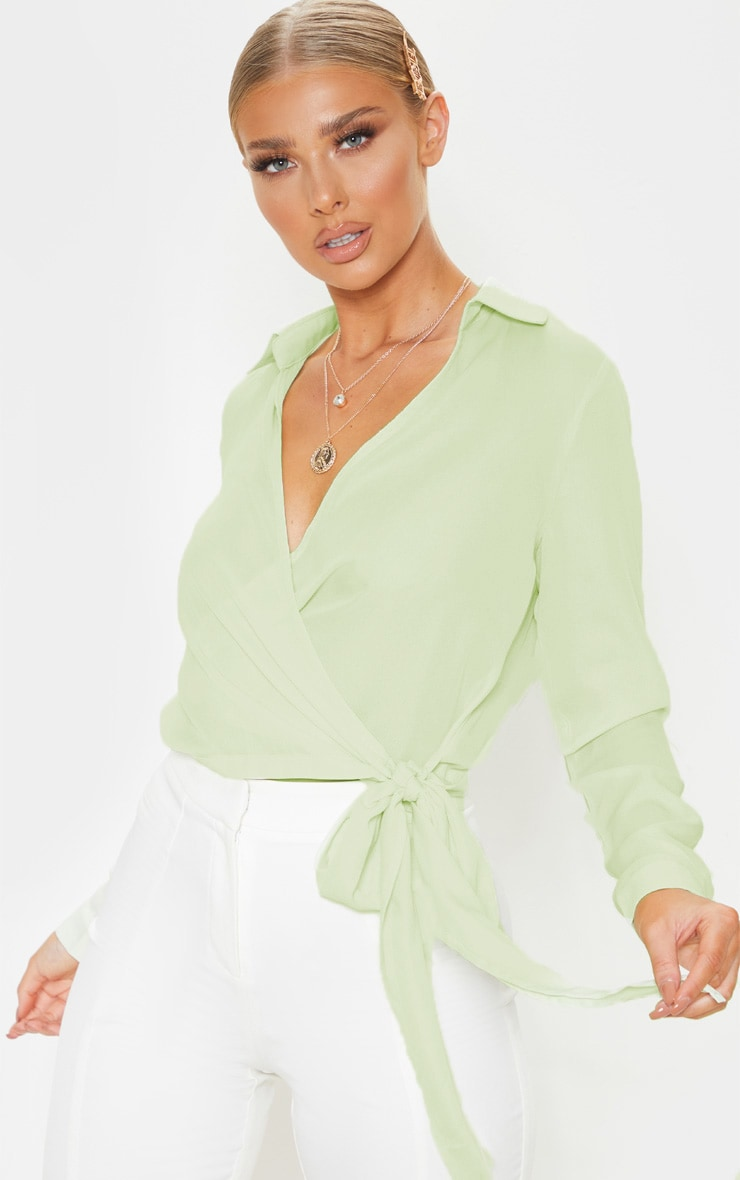 Sage Green Wrap Front Tie Side Blouse 1