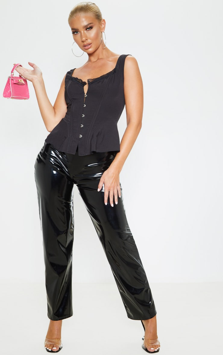 Black Woven Structured Corset Long Top 4