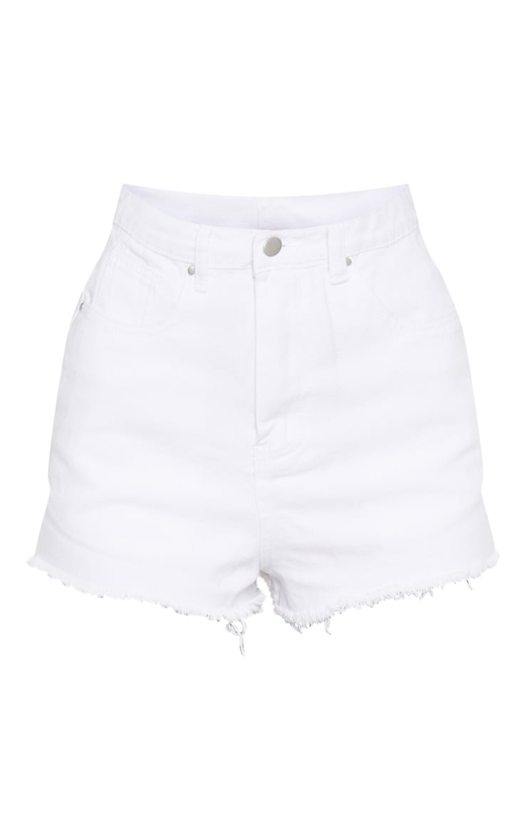Shelby White High Waisted Denim Shorts 3