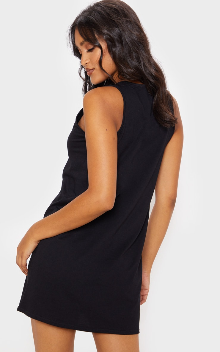 Black Deep V Sleeveless Shift Dress 2