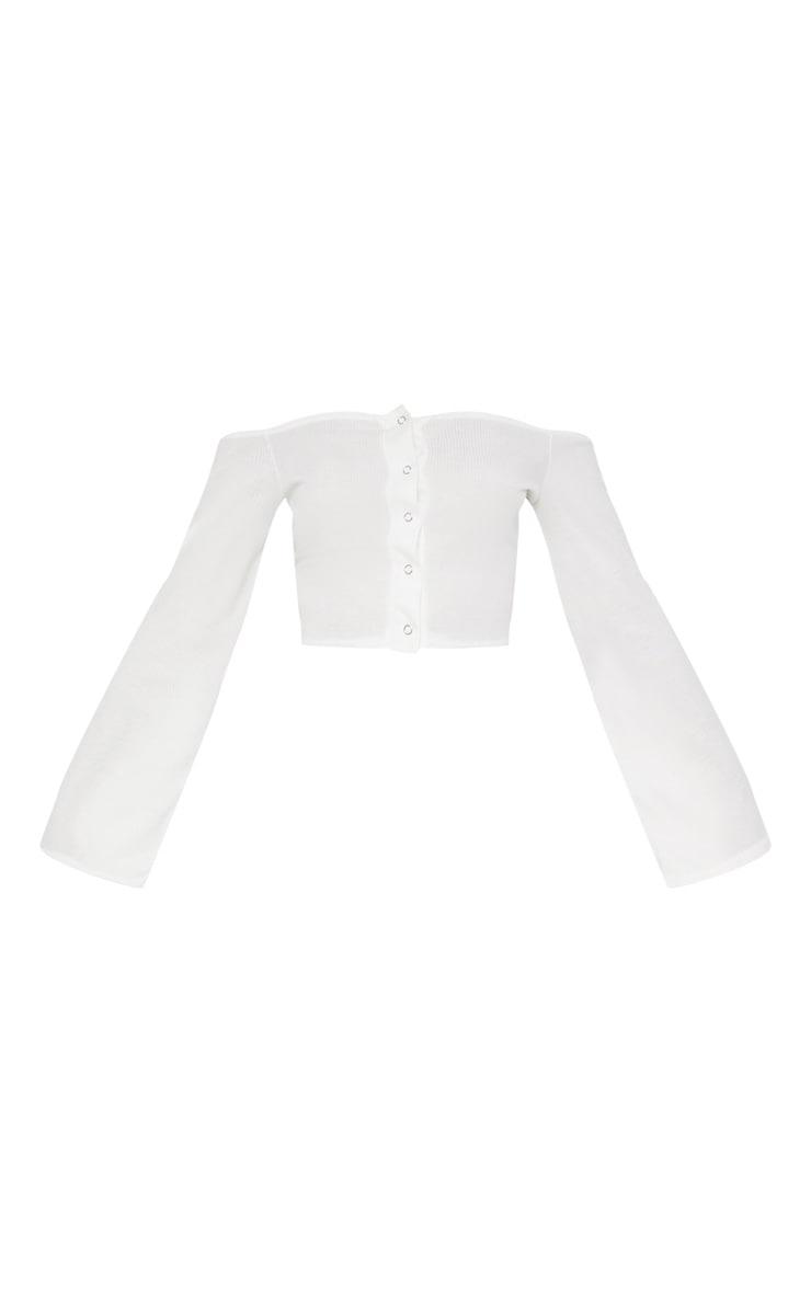 White Rib Bardot Popper Flare Sleeve Crop Top 3