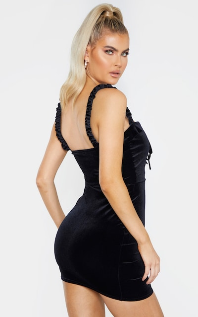 Tall Black Velvet Frill Detail Bodycon Dress