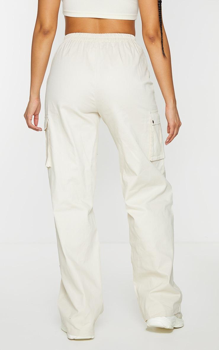 Cream Wide Leg Cargo Trousers 3