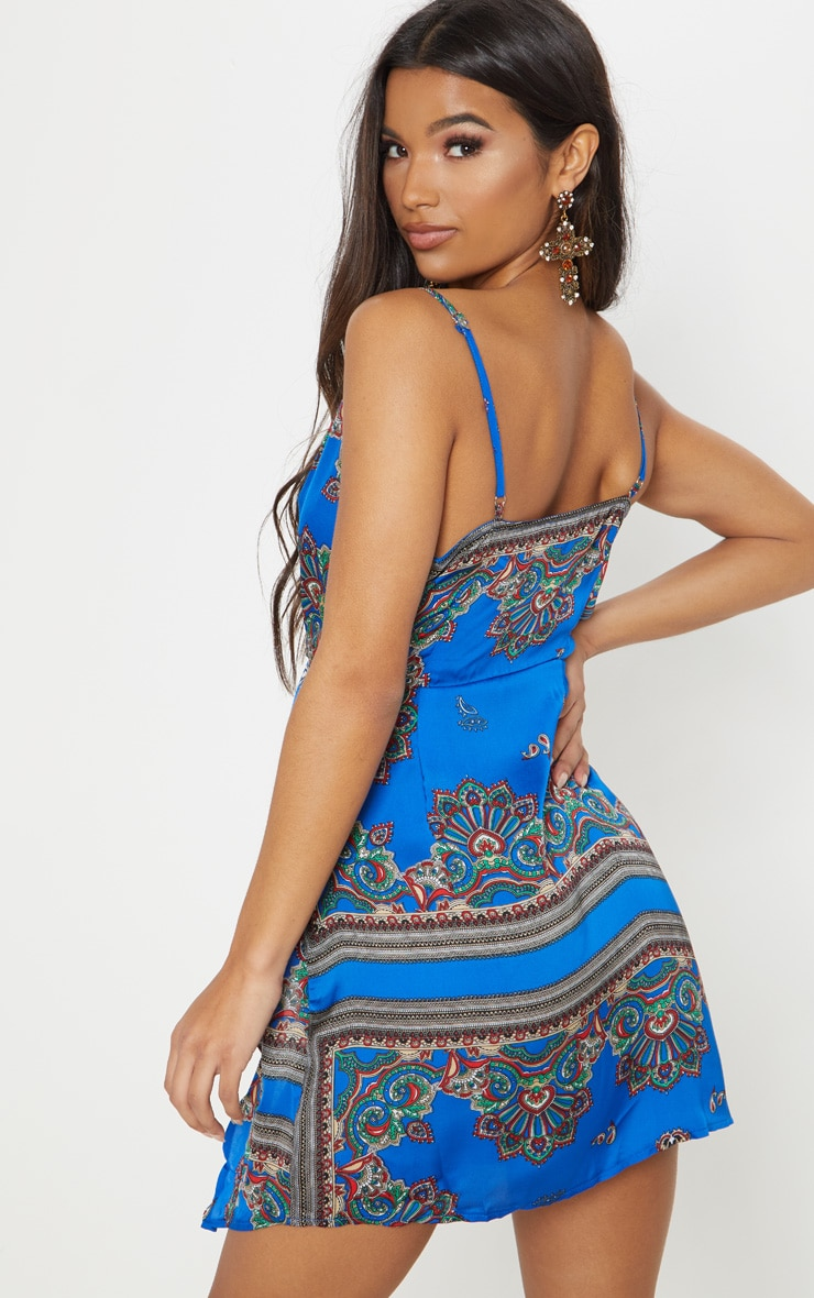 Cobalt Strappy Wrap Front Bodycon Dress 2