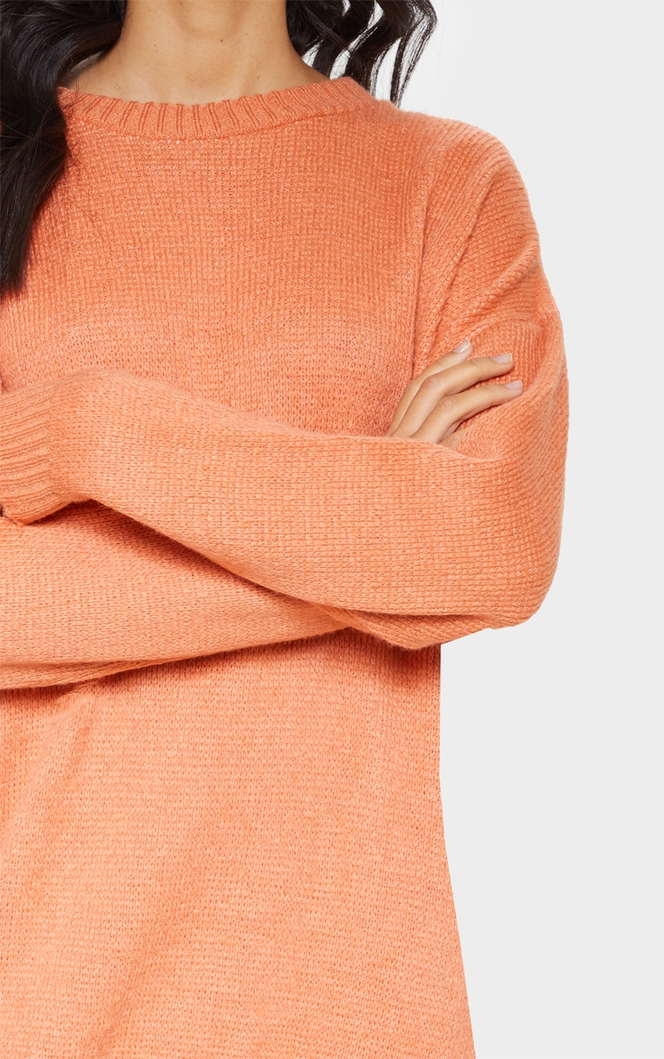 Orange Oversized Knitted Jumper Dress  5