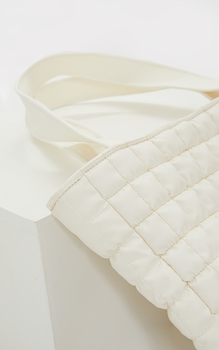 Cream Square Quilted Tote Bag 5