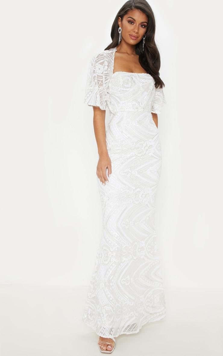 2cccbdf0df White Sequin Cape Detail Maxi Dress image 1