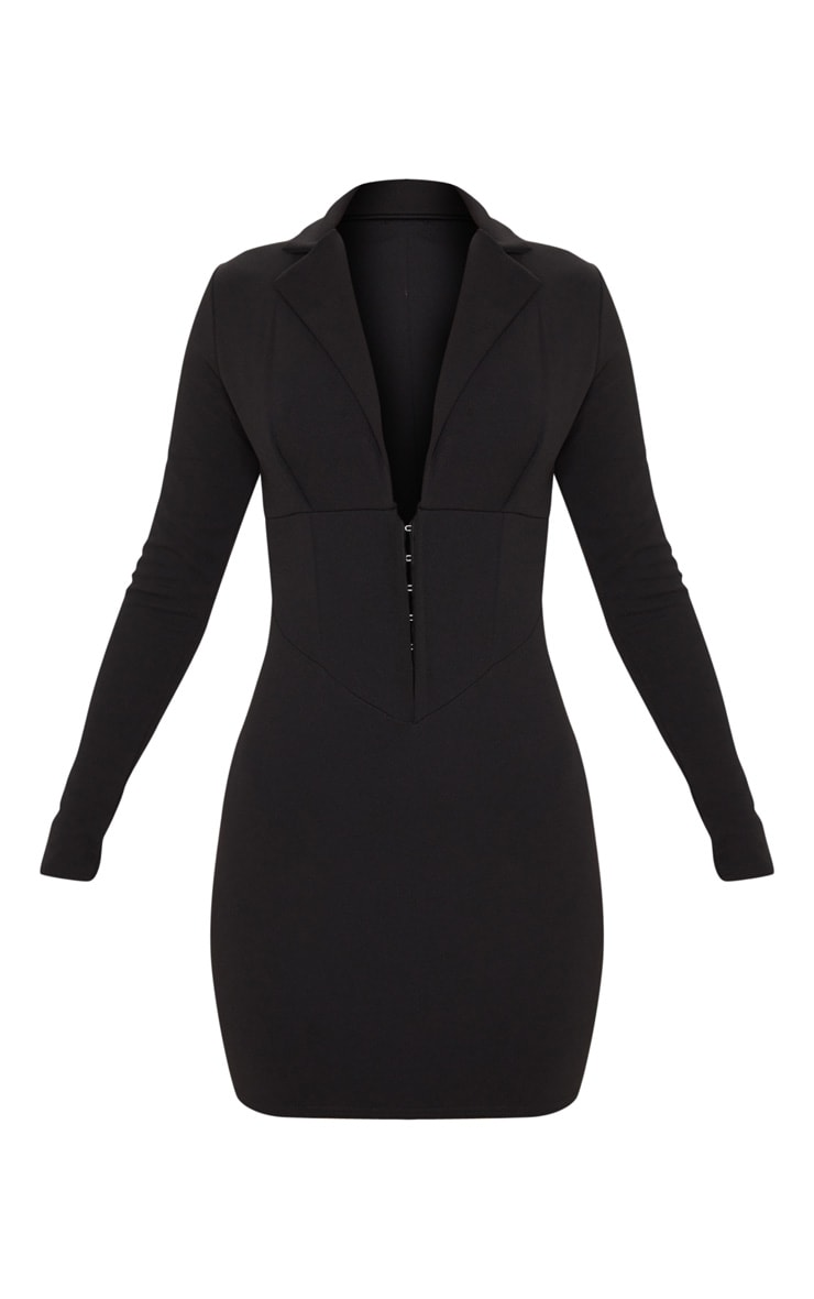 Black Long Sleeve Corset Detail Blazer Dress 3