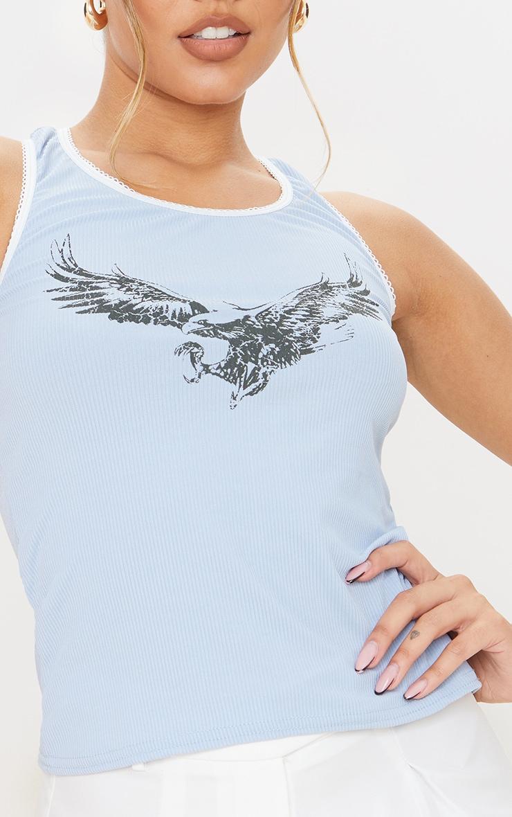 Light Blue Eagle Print Rib Vest Top 4