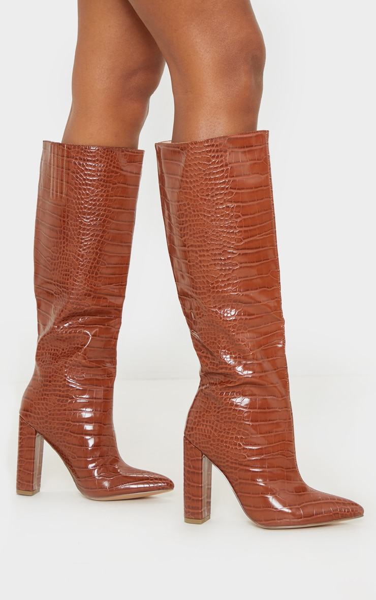 Tan Knee High Point Block Heel Boot 1