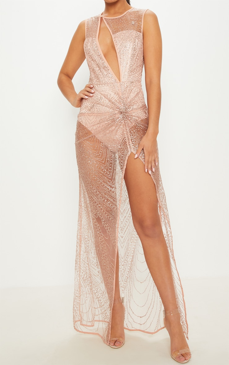 Rose Gold Glitter Sheer Extreme Split Maxi Dress 5