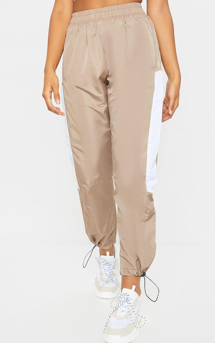 Stone Contrast Panel Shell Joggers 2