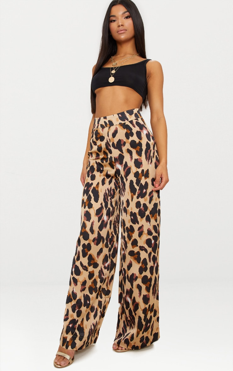 Leopard Print Satin Wide Leg Trousers 2